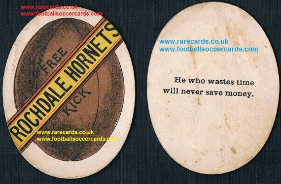 1890 Rochdale Hornets proverb oval-shape football card by Ormerod or Briggs